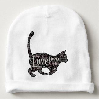Gorro Para Bebê Beanie bonito do algodão do bebê com gato preto