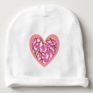 Gorro Para Bebê Beanie cor-de-rosa do algodão do bebê do coração &