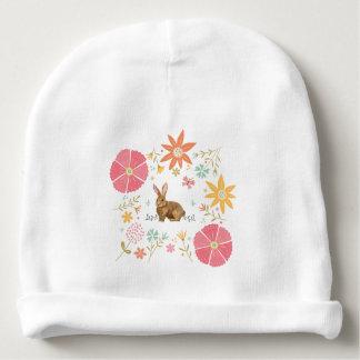 Gorro Para Bebê Beanie do algodão do bebê com flores e o coelho