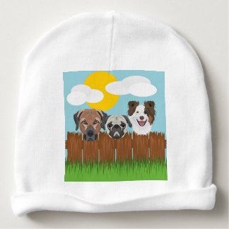 Gorro Para Bebê Cães afortunados da ilustração em uma cerca de