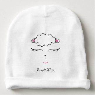 Gorro Para Bebê Cara bonito, rosa e branco do cordeiro