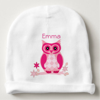 Gorro Para Bebê Chapéu cor-de-rosa personalizado do bebê da coruja