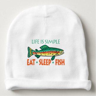 Gorro Para Bebê Coma peixes do sono - dizer engraçado da pesca