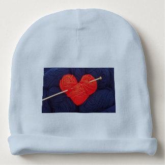 Gorro Para Bebê Coração bonito de lãs com a fotografia da agulha