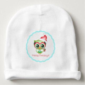 Gorro Para Bebê Coruja feliz do feriado do chapéu do papai noel do