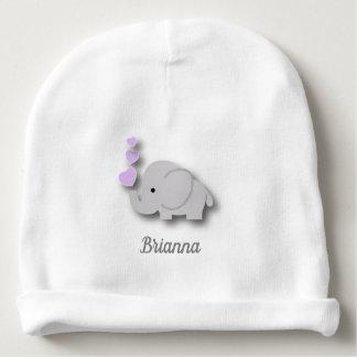 Gorro Para Bebê Elefante cinzento roxo, branco do bebê