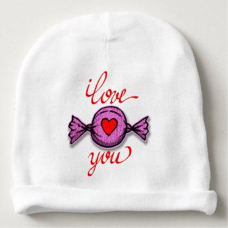Gorro Para Bebê Eu te amo (doces cor-de-rosa)