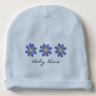 Gorro Para Bebê Flores azuis com nome feito sob encomenda do bebê