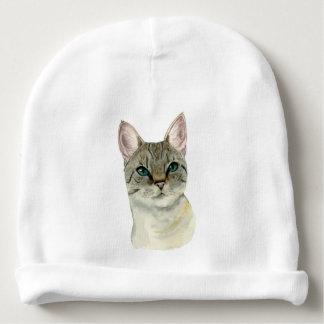 Gorro Para Bebê Gato de gato malhado com a aguarela bonito dos