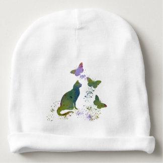 Gorro Para Bebê Gato e borboletas