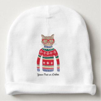 Gorro Para Bebê Gato engraçado que veste vidros, camisola feia do