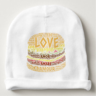 Gorro Para Bebê Hamburger ilustrado com palavra do amor