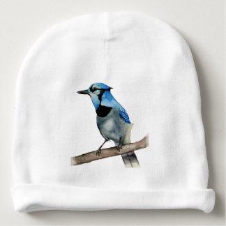 Gorro Para Bebê Jay azul na pintura da aguarela do ramo