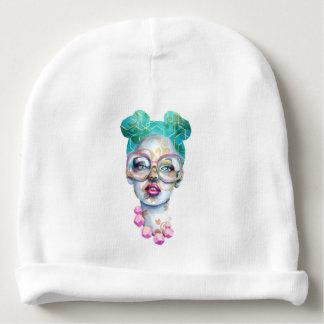 Gorro Para Bebê Menina com a cerceta original do rosa da arte do