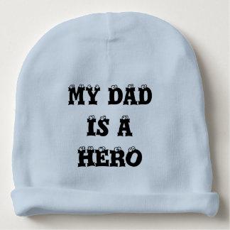 Gorro Para Bebê Meu pai é um beanie do bebê do herói