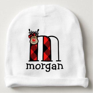 Gorro Para Bebê Monograma m da xadrez do chapéu do Natal da rena