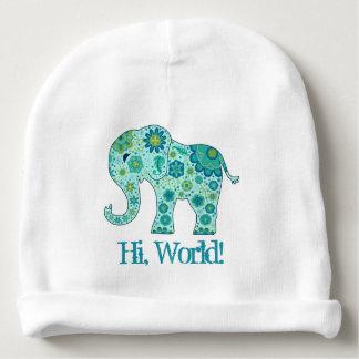 """Gorro Para Bebê O elefante floresce a cerceta """"olá!, mundo! """""""