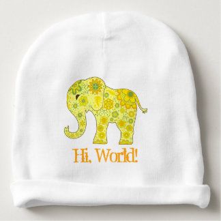 """Gorro Para Bebê O elefante floresce o amarelo """"olá!, mundo! """""""