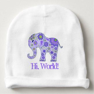 """Gorro Para Bebê O elefante floresce o roxo """"olá!, mundo! """""""