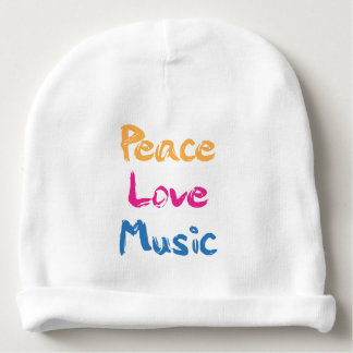 Gorro Para Bebê Paz, amor, chapéu do Beanie do bebê da música
