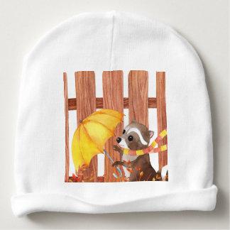 Gorro Para Bebê racoon com guarda-chuva que anda pela cerca
