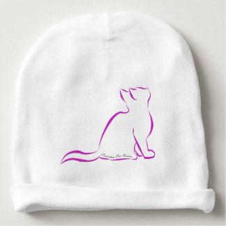 Gorro Para Bebê Silhueta cor-de-rosa do gato, texto interno