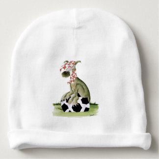 Gorro Para Bebê suporte feliz do cão do futebol dos vermelhos