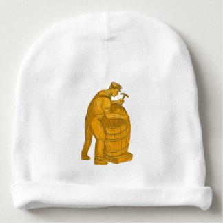 Gorro Para Bebê Tanoeiro que faz o desenho de madeira do tambor