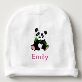 Gorro Para Bebê Urso de panda preto e branco que come o bambu