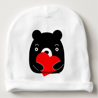 Gorro Para Bebê Urso preto que guardara um coração