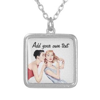 Gossipers retros das mulheres dos anos 50 colar com pendente quadrado