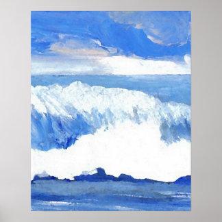 Gosto das ondas de oceano do poster azul da pôster
