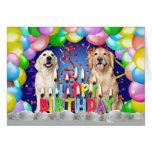 Gota do balão do aniversário - Retrievers dourados