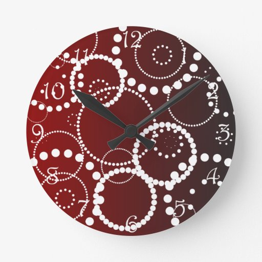 Gotas da água vermelha relógio de parede