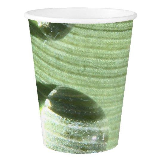 Gotas de orvalho copo de papel