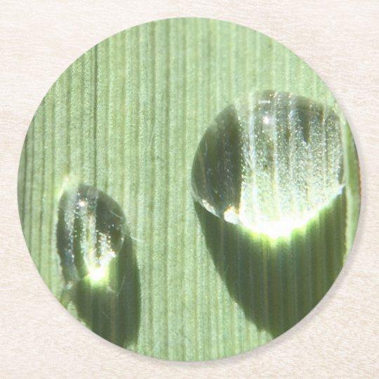 Gotas de orvalho porta-copo de papel redondo