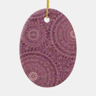 Gotas roxas da chuva ornamento de cerâmica oval