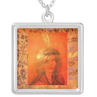 gotejamento indiano da laranja da menina colar com pendente quadrado
