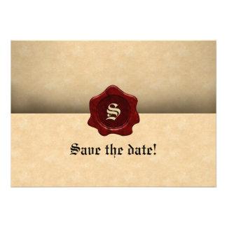 Gótico do vintage do selo e do pergaminho da cera  convites personalizado