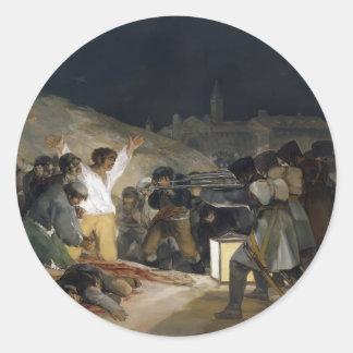 Goya-Execução de Francisco dos defensores de Adesivos Em Formato Redondos