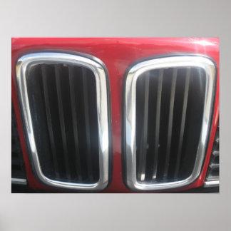 Grade vermelha de BMW 635 CSi (rins gêmeos) Poster