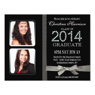 Graduação 2014 dobro Glam da foto do diamante do Convites Personalizados