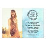 Graduação 2015 azul da foto das videiras do convite 12.7 x 17.78cm