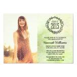 Graduação 2015 verde da foto das videiras do convite 12.7 x 17.78cm