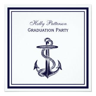Graduação 2SQ quadro da âncora azuis marinhos Convites Personalizados