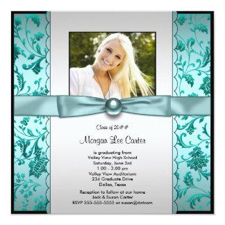 Graduação azul da foto da cerceta das meninas convite quadrado 13.35 x 13.35cm