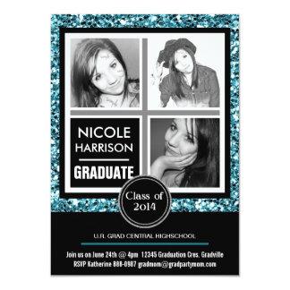 Graduação azul da foto da menina 3 do brilho do convite 11.30 x 15.87cm