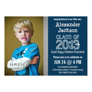 Graduação azul e cinzenta do pré-escolar ou do convite 12.7 x 17.78cm