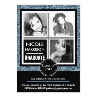 Graduação azul moderna da foto do brilho 3 do convite 11.30 x 15.87cm