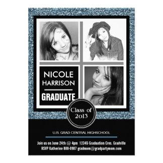 Graduação azul moderna da foto do brilho 3 do fals convite